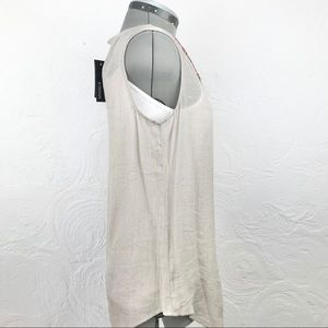 B Design Tops - NWT B-Design semi sheer beaded taupe tank blouse